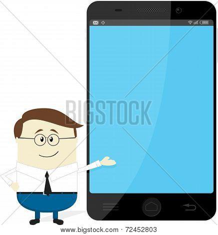 businessman showing big smartphone