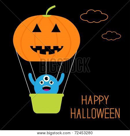 Pumpkin Hot Air Balloon With Cute Three Eyes Monster In The Sky. Happy Halloween Card. Flat Design.