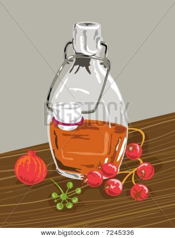 jar of syrup with berries and rose hips