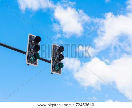 Image Of Traffic Light, The Green Light Is Lit. Symbolic  For Going