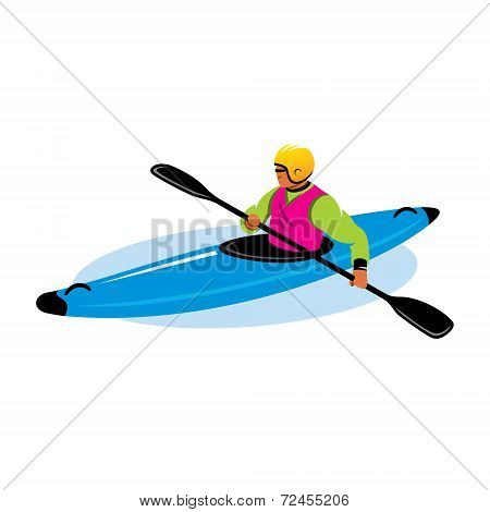 Man In Canoe Vector Sign