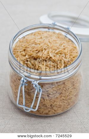 Brown Rice In A Large Glass Jar