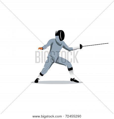Foil Fencer Vector Sign
