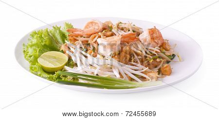Thai Food Pad Thai , Stir Fry Noodles With Shrimp In Padthai Style Isolate White Background
