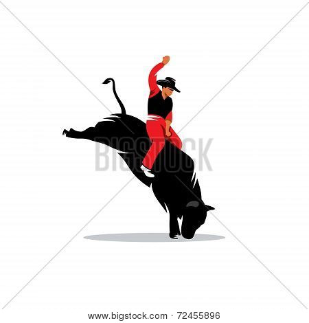 Rodeo Cowboy Vector Sign