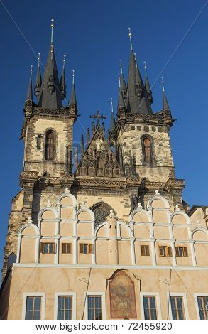 Church Of Our Lady Before Tyn In Sunset Ligh. Prague.