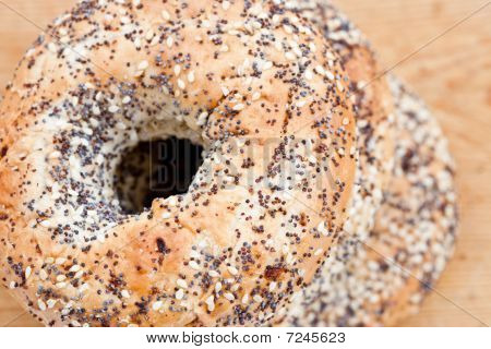 Pile Of Bagels With Sesame Seeds