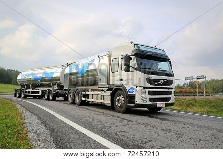 Volvo FM Valio Milk Tank Truck On The Road