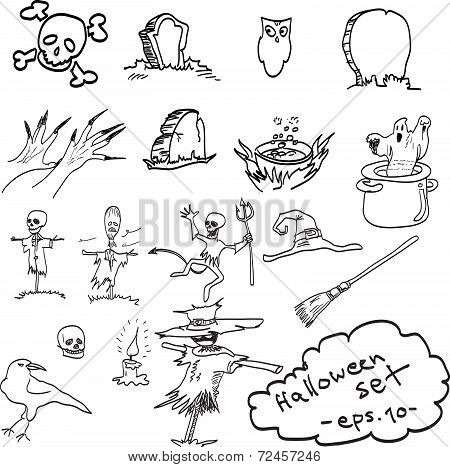 Doodles Vector Hand Drawn Of Halloween Objects