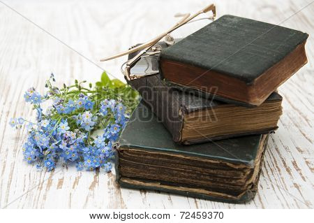Forget-me-nots Flowers And Old Books