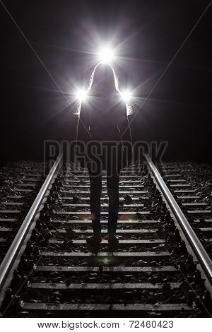 Woman In Front Of Train