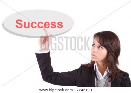 Business Woman Pressing Key