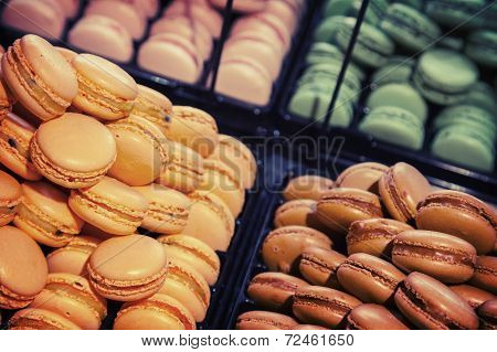Colorful Traditional French Macarons Lay  In The Bakery