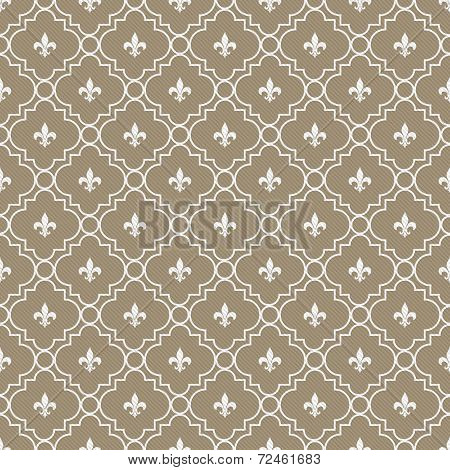 White And Brown Fleur-de-lis Pattern Textured Fabric Background