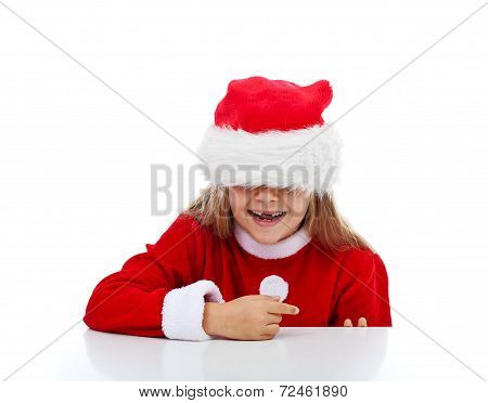 Happy Little Girl In Santa Costume