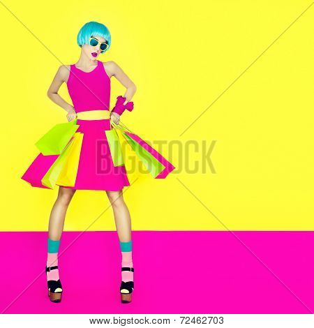 girl shopping. summer sale