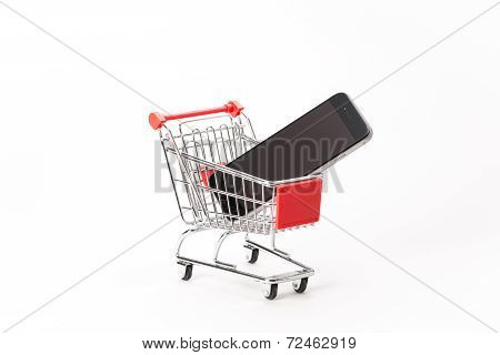 Caddy For Shopping With Smartphone