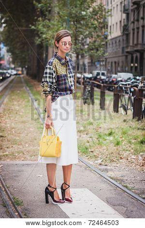 Woman Posing Outside Gucci Fashion Shows Building For Milan Women's Fashion Week 2014