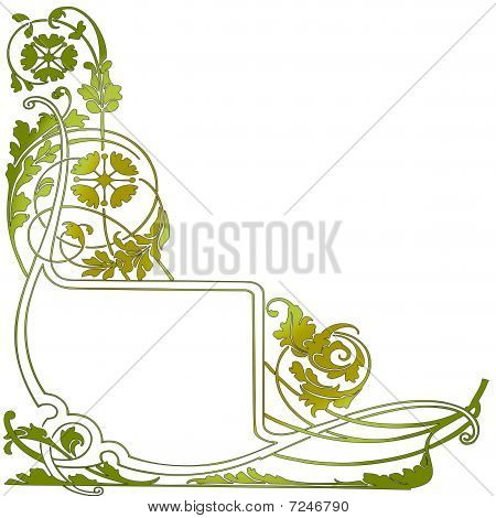 Green Flower Pattern And Banner