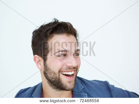 Cool Guy With Beard Laughing On White Background