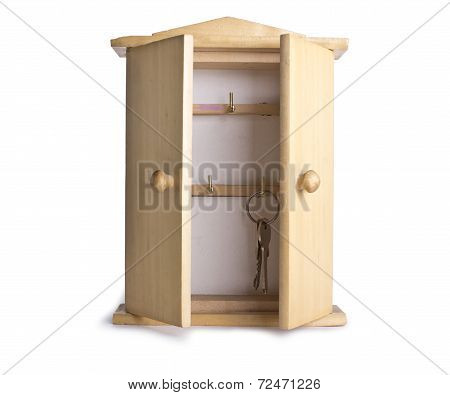 Wooden box with a key  isolated on white background