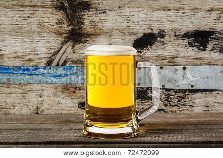 Glass Beer On Wood Background With Copyspace
