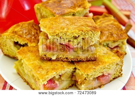 Pie Rhubarb And Drink On Linen Tablecloth