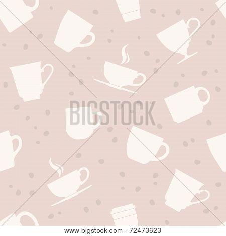 White teacups seamless pattern