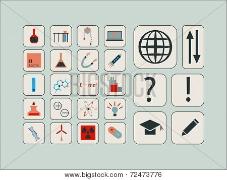 Vintage icon set for science