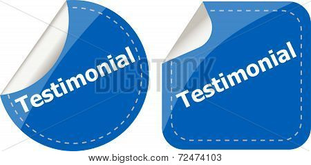 Testimonial Word On Stickers Button Set, Label, Business Concept
