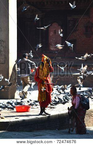 Holy Sadhu Man In Kathmandu, Nepal
