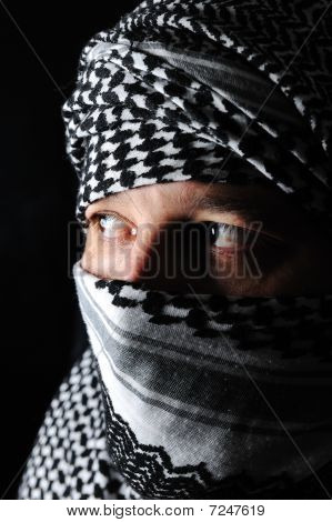 Man With Arabic Palestinian Colors