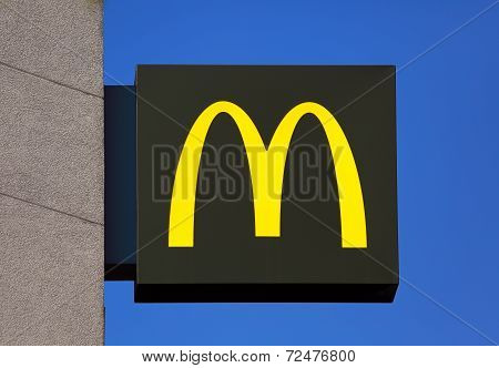 Mcdonald's Sign On The Background Of Blue Sky