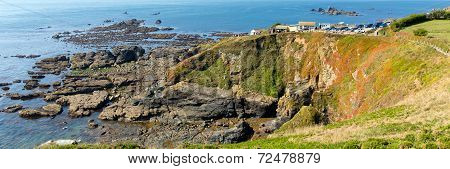 Panorama view of The Lizard peninsula Cornwall England UK south of Falmouth and Penryn