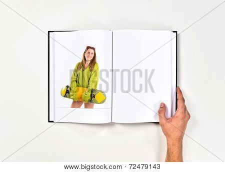 Skater With Green Sweatshirt Printed On Book