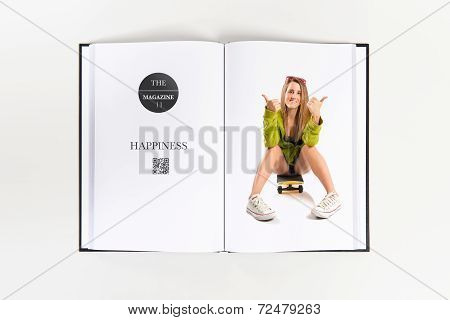 Girl With Thumb Up Printed On Book