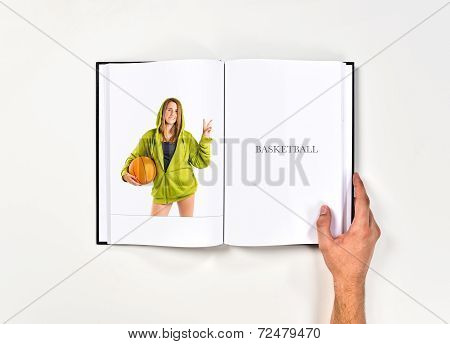 Young Girl Doing Victory Gesture Printed On Book