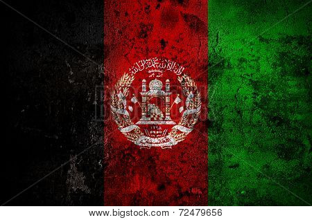Grunge Flag Of Afghanistan With Capital In Kabul