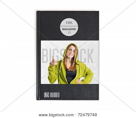 Pretty Young Girl With Thumbs Up Printed On Book