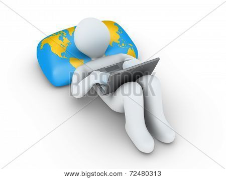Person With Laptop Is Browsing The Internet