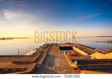 Quay In Tallinn During Sundown