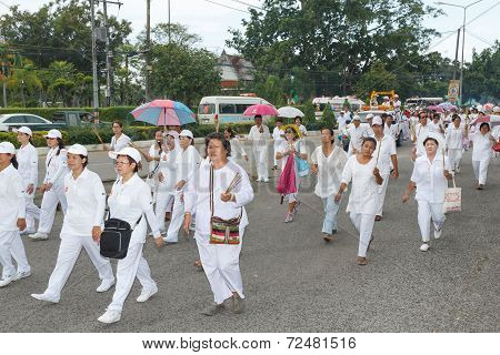 Rayong vegetarian festival on September 23 2014 in Rayong province Thailand.