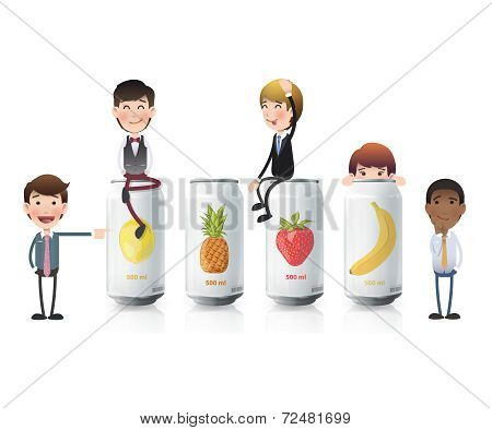 Business People With Tin Fruits. Vector Design