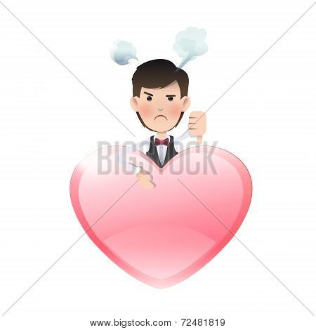 Furious Business People With Heart. Vector Design.