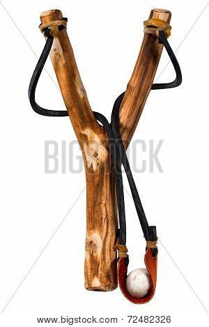 Handmade Wooden Slingshot On White