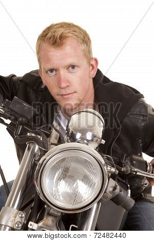 Man On Motorcycle Black Jacket Lean Forward Facing Close