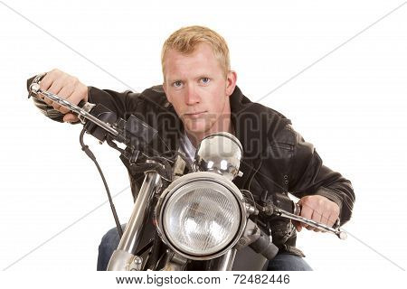 Man On Motorcycle Black Jacket Lean Forward Facing Color