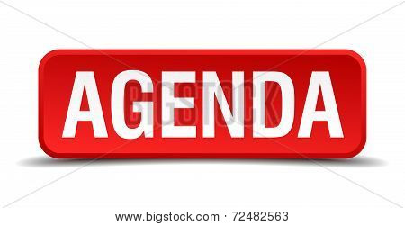 Agenda Red Three-dimensional Square Button Isolated On White Background