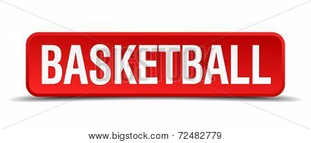 Basketball Red Three-dimensional Square Button Isolated On White Background