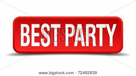 Best Party Red Three-dimensional Square Button Isolated On White Background